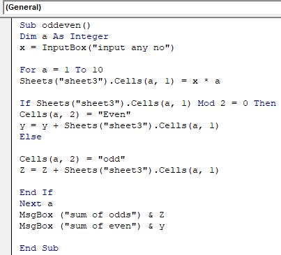 Examples of Excel Macro 3-1