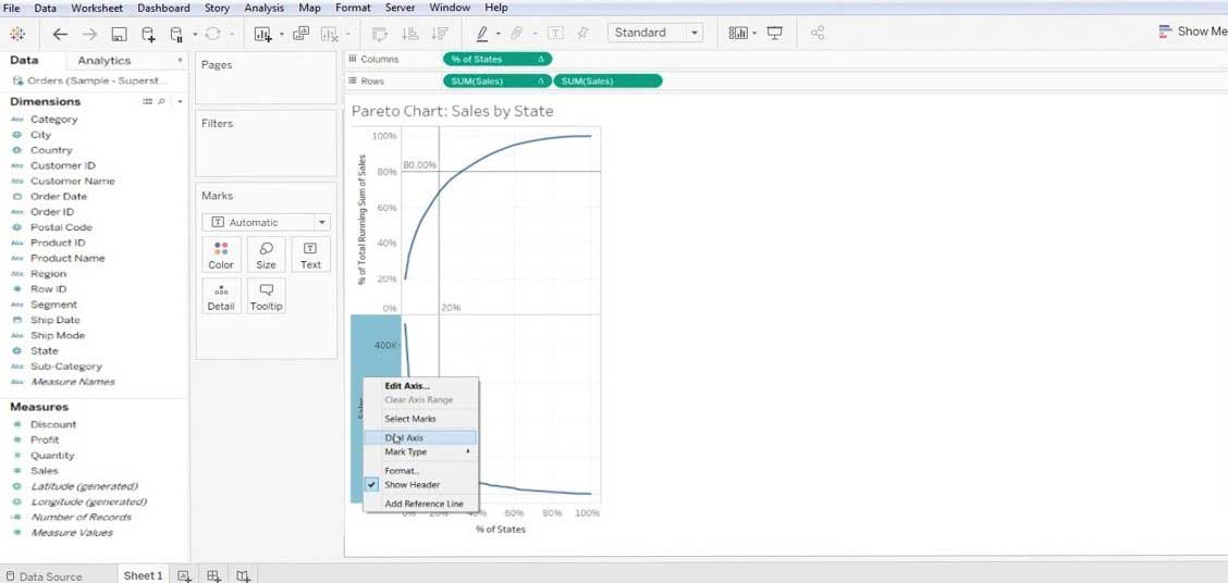 Pareto Chart in Tableau 1-15