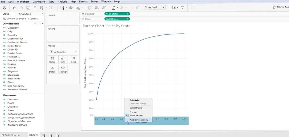 Pareto Chart in Tableau 1-9