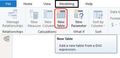New Table option Example 1-1