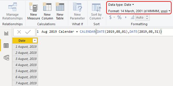 Power BI Calendar Example 1-9