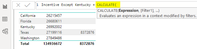 CALCULATE function Example 2-2