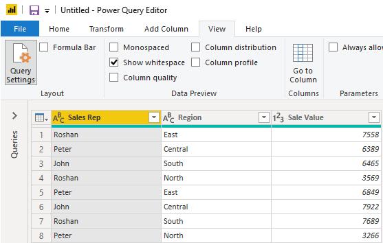 Power Query Editor window Example 1-4