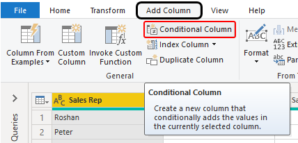 Choose Conditional Column Example 1-5