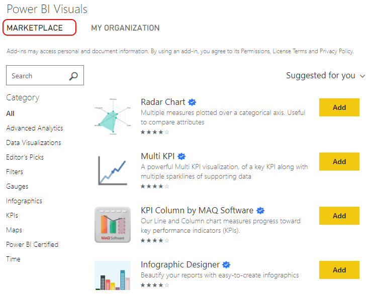 Power BI Visuals Market Place