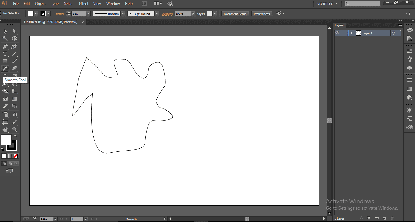 Smoothing Whole Shape - Smooth Tool in Illustrator