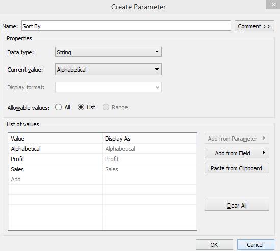 Tableau Dynamic Parameters 1-10
