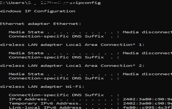 Windows Networking Commands ipconfig