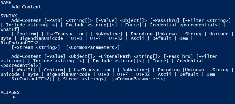 add content in powershell