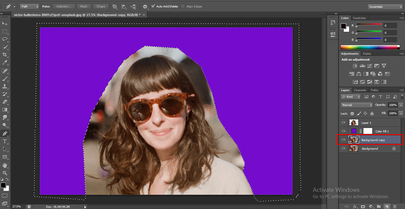 add new layer (How to Delete Background in Photoshop?)