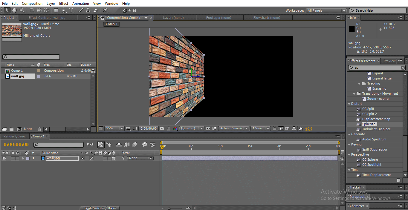 adjust wall (3D Effects in After Effects)