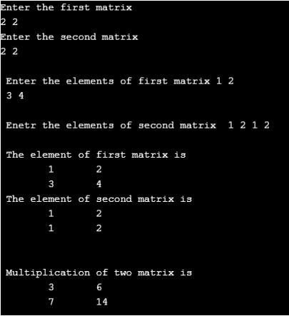 C Programming Matrix Multiplication - Output 2