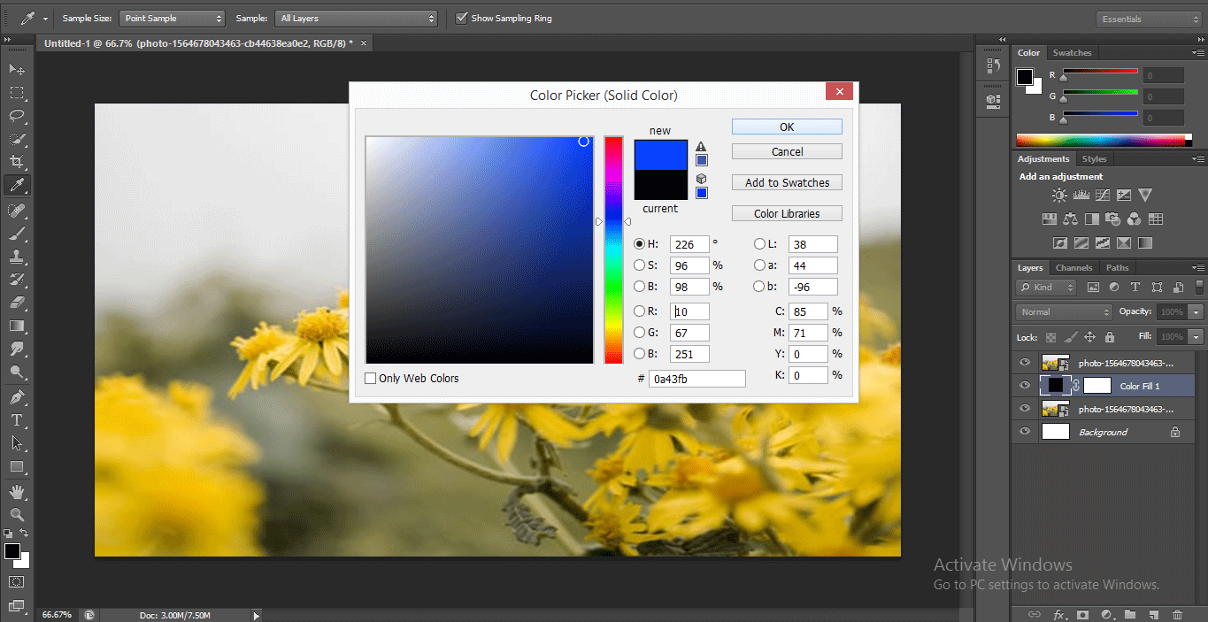 choose blue color (How to Delete Background in Photoshop?)