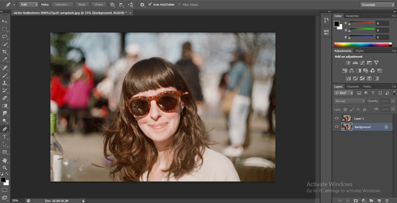 duplicate layer1 (How to Delete Background in Photoshop?)