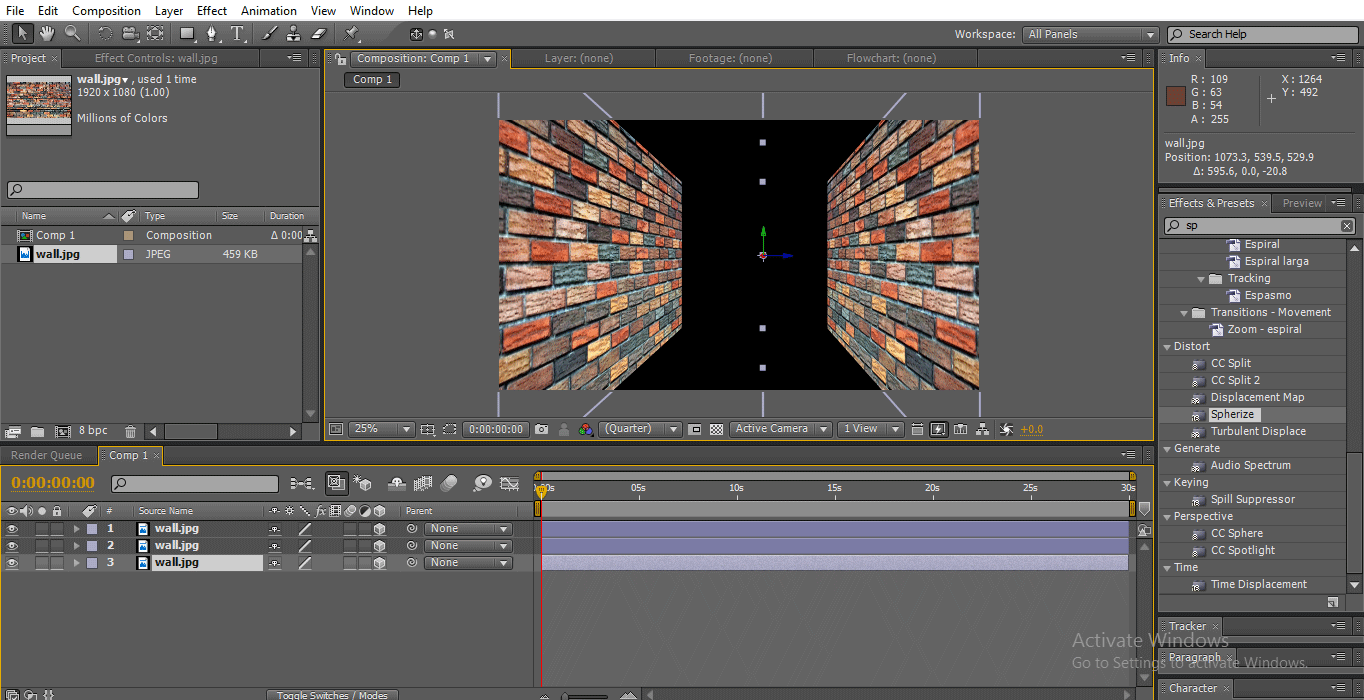 duplicate midle wall (3D Effects in After Effects)