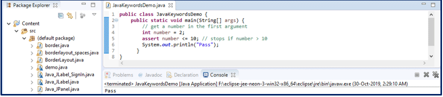 Assert Java Keywords