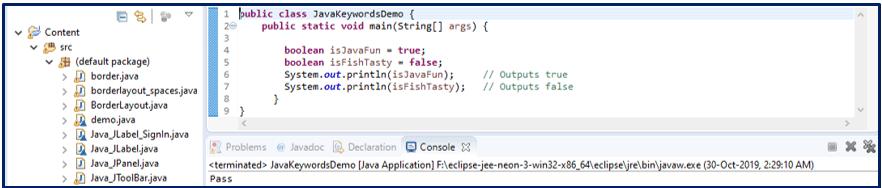 Boolean Java Keywords