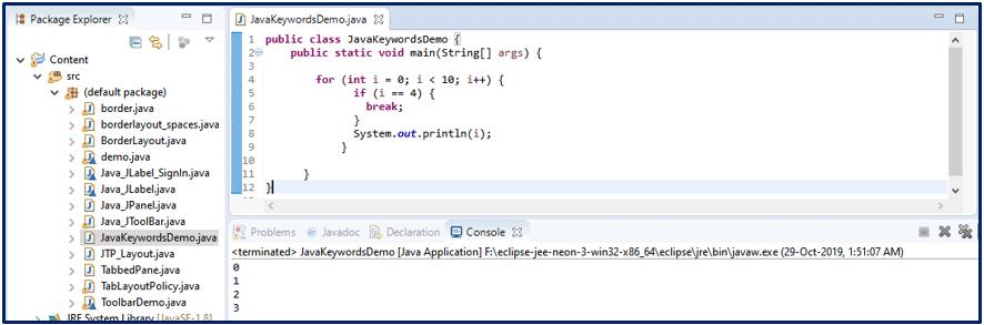Break Java Keywords