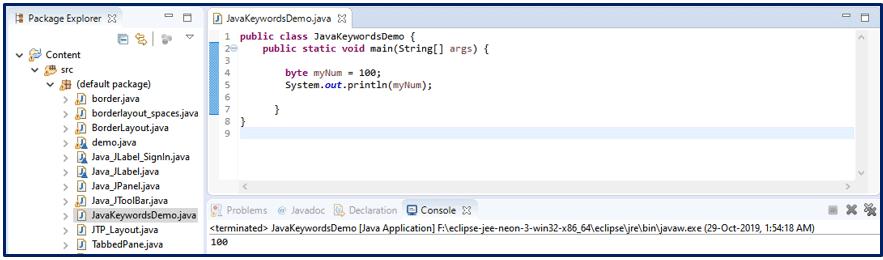 Byte Java Keywords