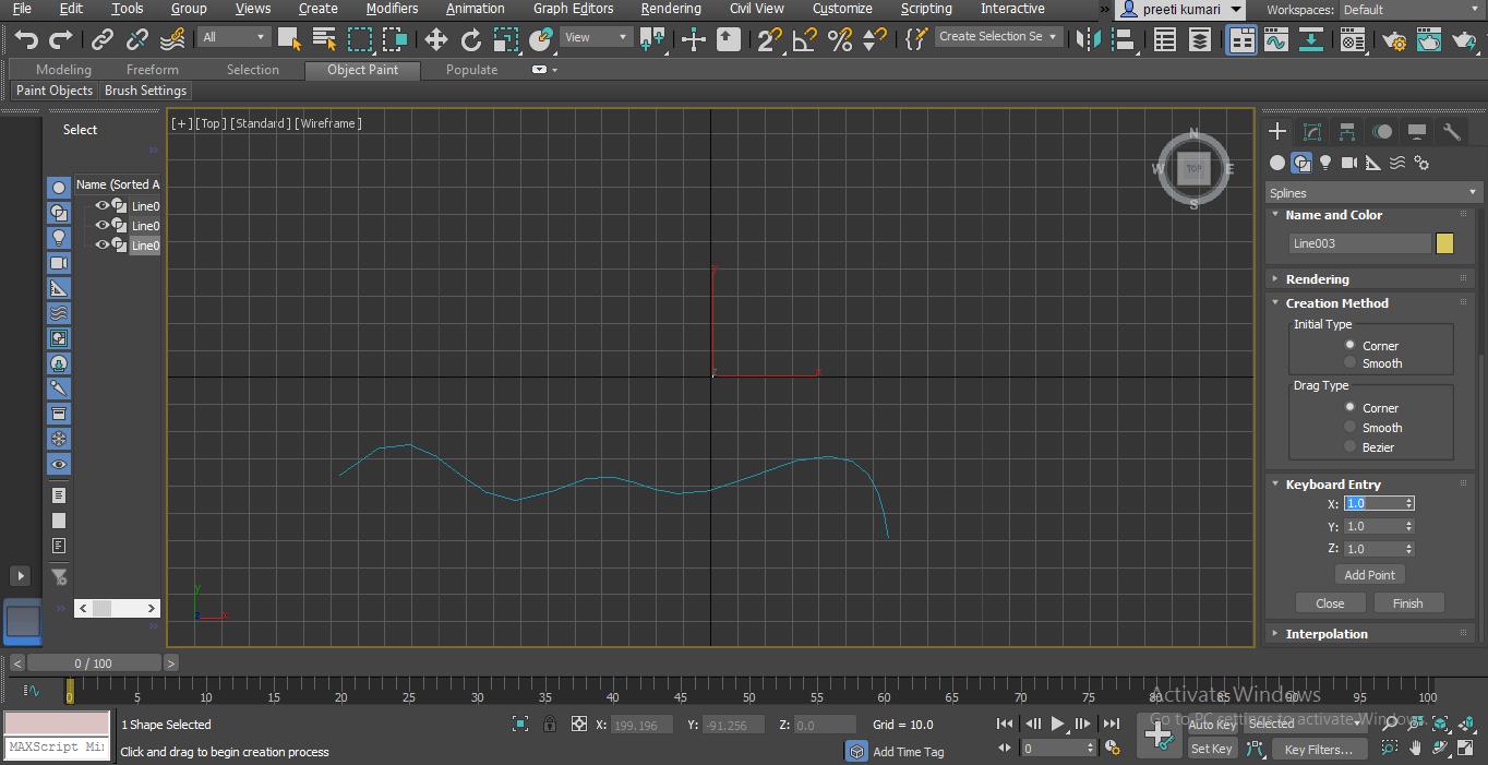 keyboard entry (Spline in 3ds Max)
