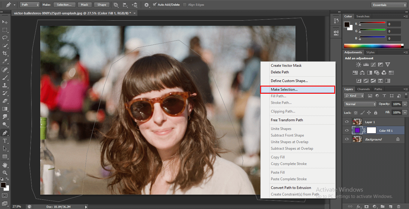 mark selection (How to Delete Background in Photoshop?)