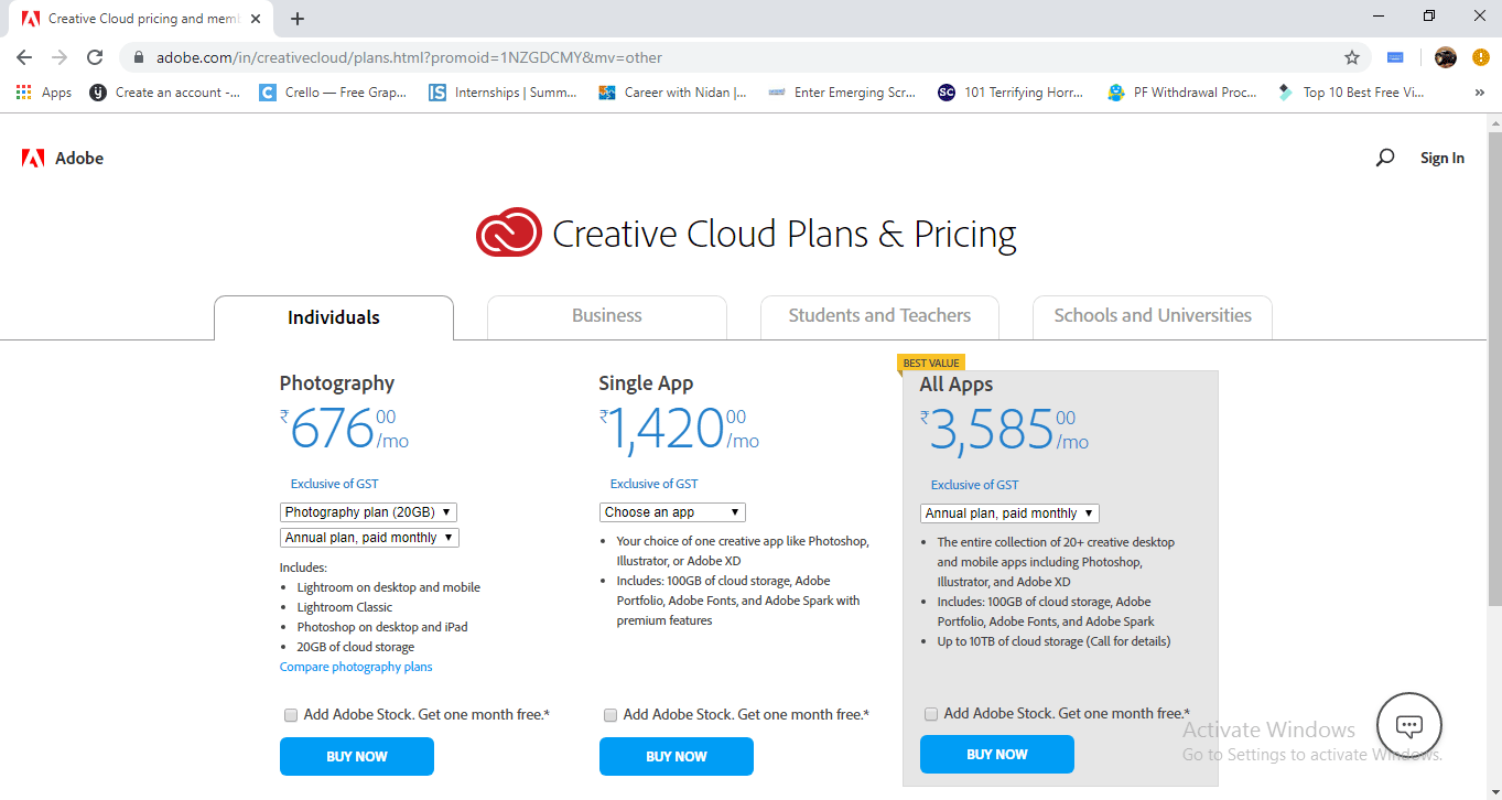 price detail (Install Adobe Creative Cloud)