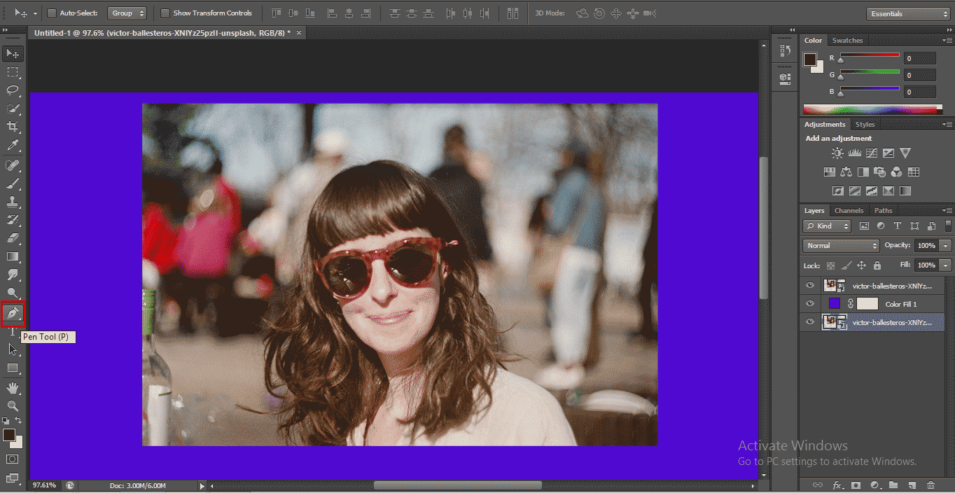 use pen tool (How to Delete Background in Photoshop?)