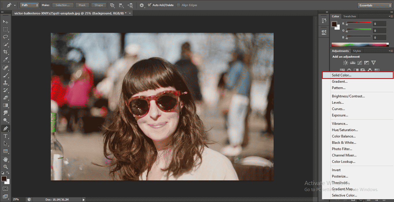 soliod layer option (How to Delete Background in Photoshop?)