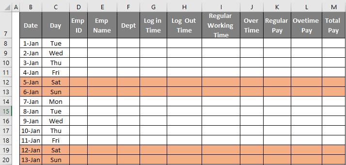time sheet 1