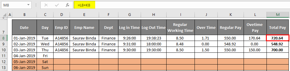 total pay -time sheet