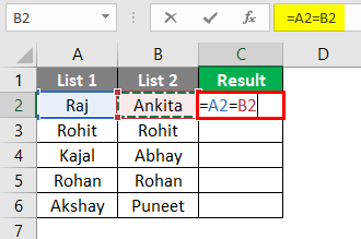 Compare two lists in excel 1-2