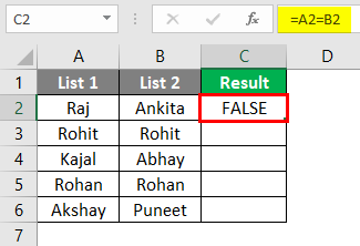 Compare two lists in excel 1-3