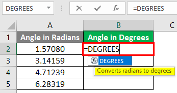 Excel DEGREES Function 1-2