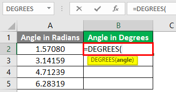 Excel DEGREES Function 1-3