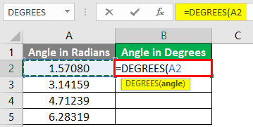 Excel DEGREES Function 1-4