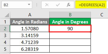 Excel DEGREES Function 1-5