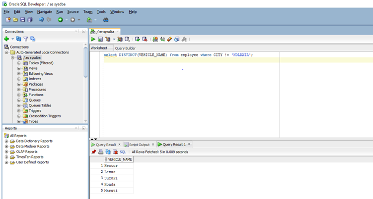 DISTINCT in Oracle 3