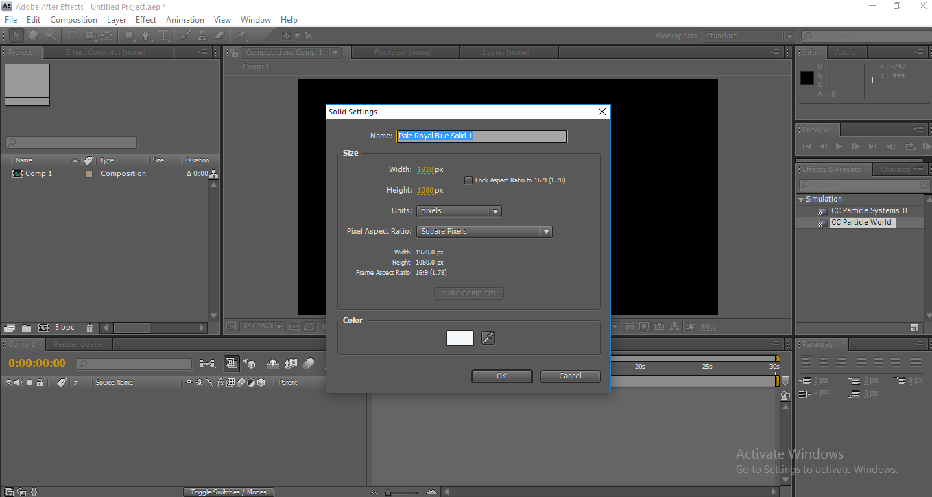 Rain in After Effects - Import Solid Layer