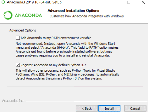 Install Anaconda Python eg9