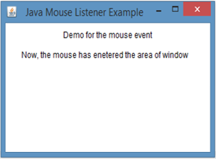 Java MouseListener Example 1 output 2