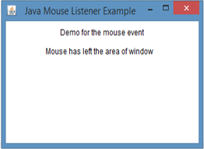 Java MouseListener Example 1 output 3
