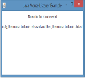 Java MouseListener Example 1 output 5