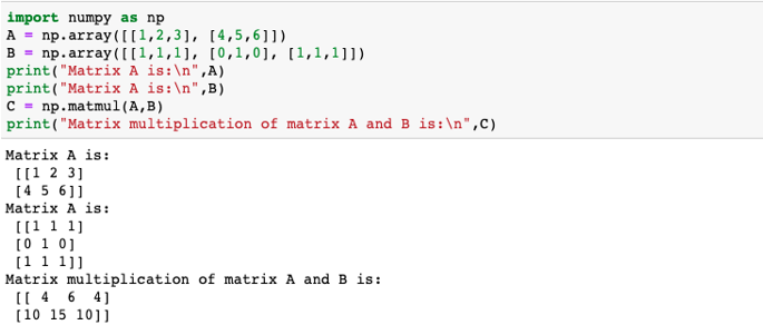 Matrix multiplication in numpy