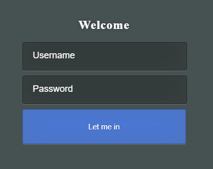 Login page layout.