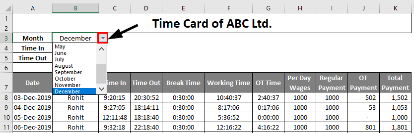 Time Card template in excel 1-5