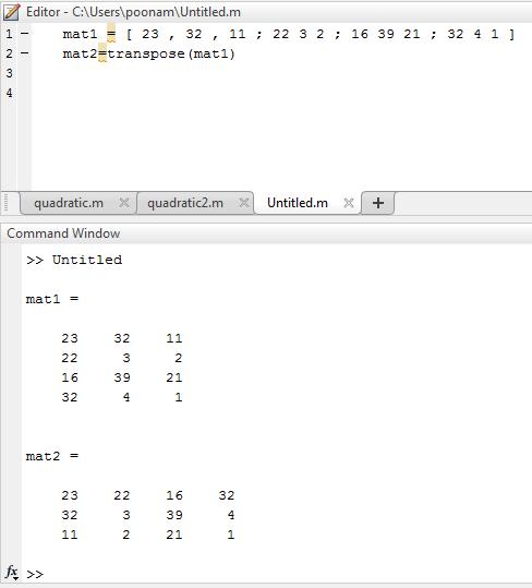 Transpose Matrix Matlab - 2