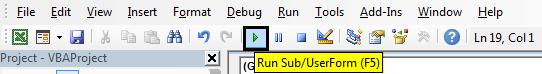 Run button Example