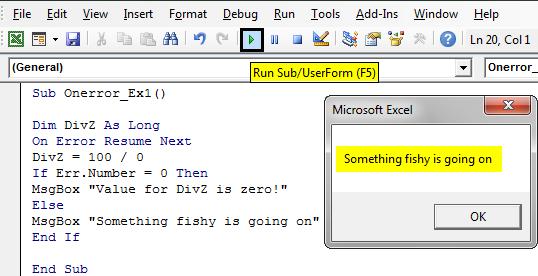 VBA On Error Goto 0 Example 1-10