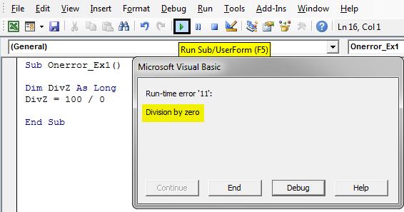 VBA On Error Goto 0 Example 1-4