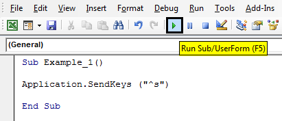 VBA SendKeys Example 1-3